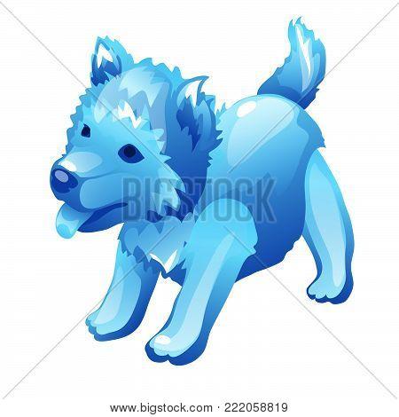 Ice dog. Vector.Cartoon vector illustration close-up. Concept
