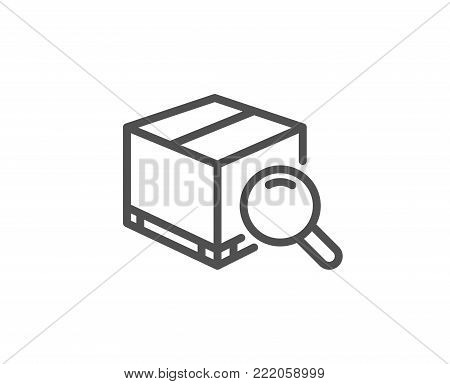 Search package line icon. Delivery box sign. Parcel tracking symbol. Quality design element. Editable stroke. Vector