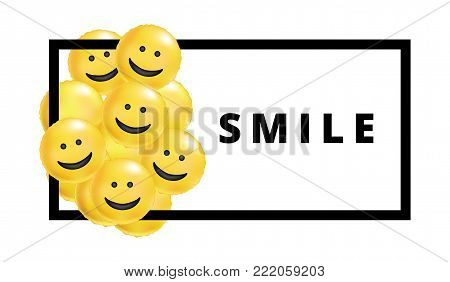 Smile yellow balloons background. Fun character people, bright balloon. Smiley, Funny friends. Comic text, humor message, Greeting card, motivation design, Laughing face. surprice Emotion banner