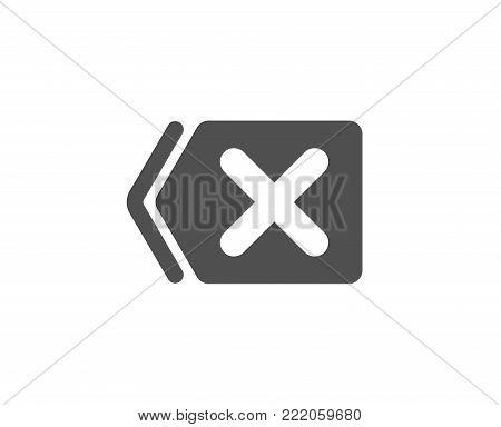 Delete simple icon. Remove sign. Cancel or Close symbol. Quality design elements. Classic style. Vector