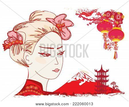 Geisha portrait and Chinese lanterns , vector illustration