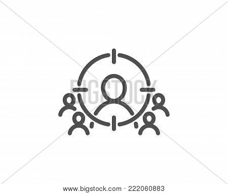 Business targeting line icon. Marketing target strategy symbol. Aim with people sign. Quality design element. Editable stroke. Vector