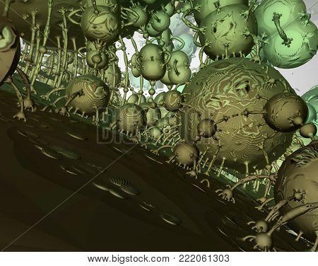 3D Green Fractal Rendering Extraterrestrial City Landscape