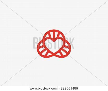 Heart dna vector logotype. Lined love science symbol. Lab social spiral logo design