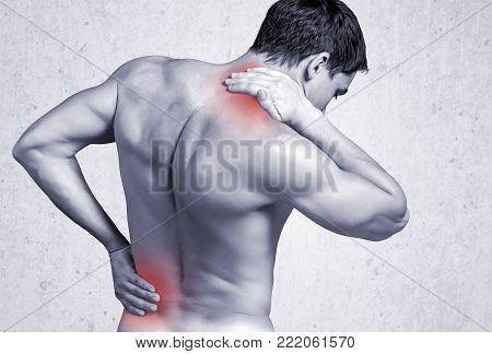 Young man back handsome backache young adult man face