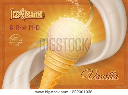 Ice cream in a cone vintage poster.