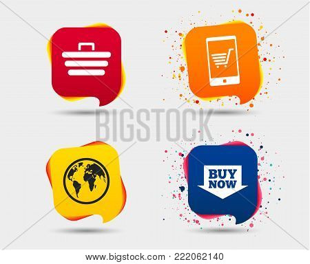 Online shopping icons. Smartphone, shopping cart, buy now arrow and internet signs. WWW globe symbol. Speech bubbles or chat symbols. Colored elements. Vector