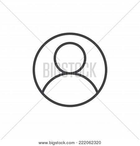 User account avatar line icon, outline vector sign, linear style pictogram isolated on white. Admin profile symbol, logo illustration. Editable stroke