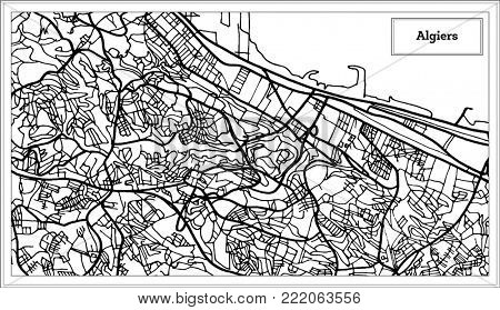Algiers Algeria Map in Black and White Color. Outline Map.