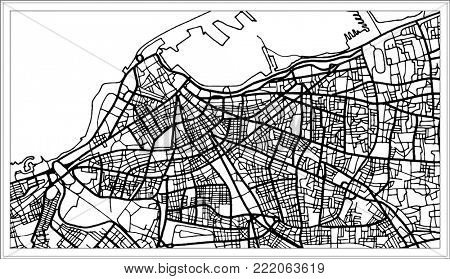 Tripoli Libya Map in Black and White Color. Outline Map.