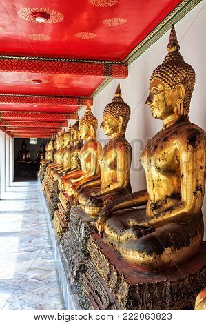 Temple of the Reclining Buddha, Thailand. Golden Buddhas. Very beautirul place.