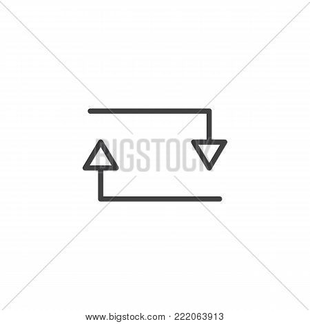 Arrow loop repeat line icon, outline vector sign, linear style pictogram isolated on white. exchange symbol, logo illustration. Editable stroke