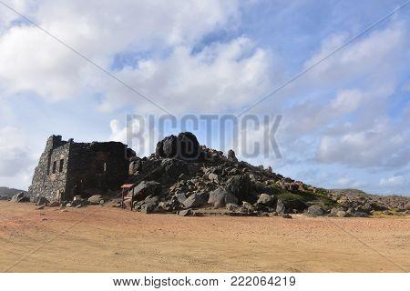 Beautiful dark stoned gold mine ruins in Aruba