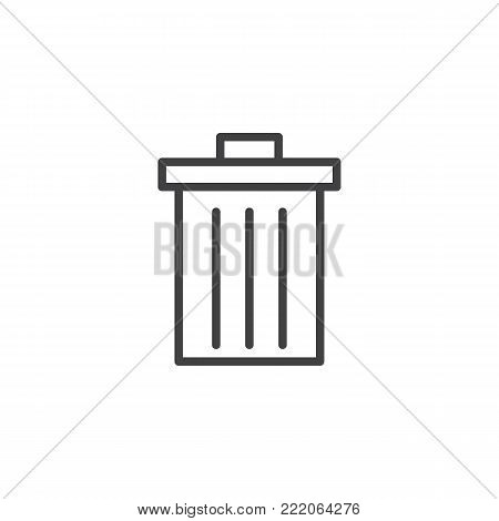 Trash can line icon, outline vector sign, linear style pictogram isolated on white. Delete symbol, logo illustration. Editable stroke