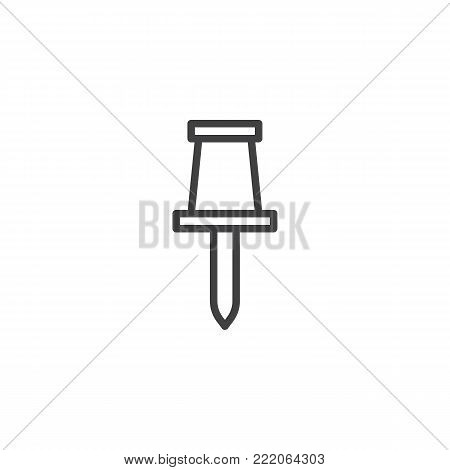 Drawing pin line icon, outline vector sign, linear style pictogram isolated on white. Pushpin symbol, logo illustration. Editable stroke
