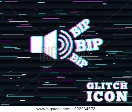 Glitch effect. Speaker volume icon. Sound with BIP symbol. Loud signal. Background with colored lines. Vector