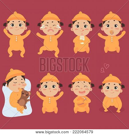 Set with cute little baby in footies with different emotions. Various face expressions. Happy newborn, infant cry, hold teddy bear, sleeping child, sad and crying girl, screaming. Colorful vector.