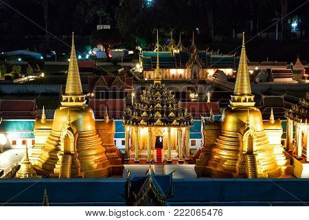 Mini Siam Thailand: beauty in the evening photography of Thai attractions. Stupas of the temple.