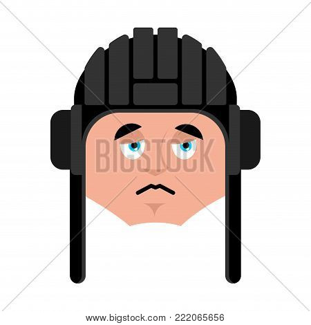 Tankman sad emoji. Russian soldier sorrowful emotion avatar. Tankman Military in Russia dull. Illustration for 23 February. Defender of Fatherland Day. Army holiday for Russian Federation