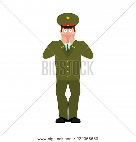 Russian Officer scared OMG. Soldier Oh my God emotion. Frightened Military in Russia. Illustration for 23 February. Defender of Fatherland Day. Army holiday for Russian Federation