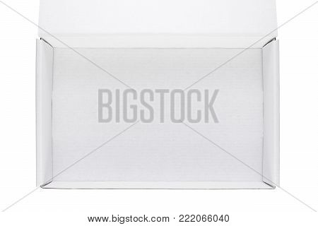 Opened white box with cover isolated on white background top view