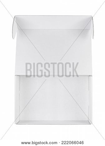 Empty opened white box isolated on white background top view