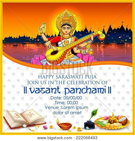 illustration of Goddess of Wisdom Saraswati for Vasant Panchami India festival background