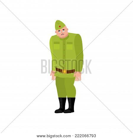 Soviet soldier sad. Retro Russian warrior sorrowful. dull Military in Russia. Illustration for 23 February. Defender of Fatherland Day. Army holiday for Russian Federation