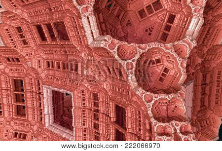 3D Fractal Rendering - Pink  Extraterrestrial Architecture