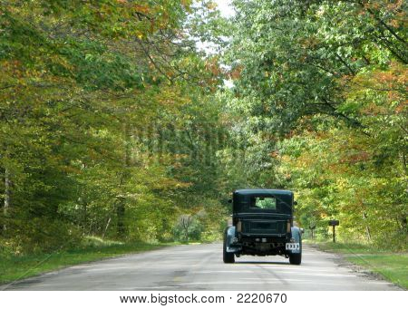 Antique Car On Country Road