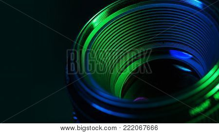 Reflection camera lens background nobody horizontal macro