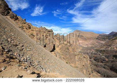 Atlas Mountains. Mountain Slope On Walking Hiking Trail. Morocco, Winter. Wild Nature Landscape.