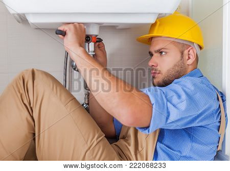 Water plumber tap fix plumb closeup equipment