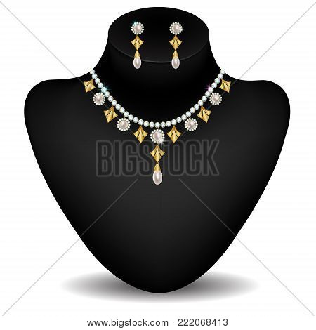 gold necklace and earrings with diamonds and pearls on a dummy