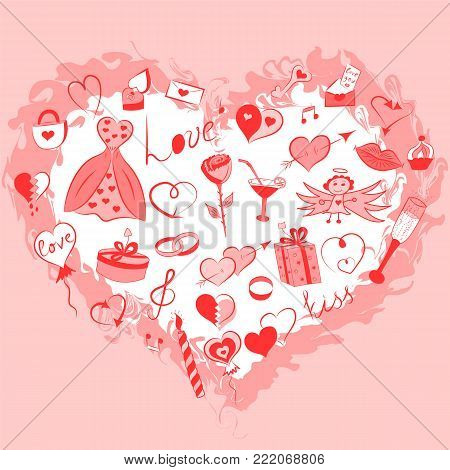 Hand Drawn Set of Valentine's Day Symbols. Funny Doodle Drawings of Red Hearts, Gifts, Rings, Balloons Arranged in a shape of Heart.  Vector Illustration.