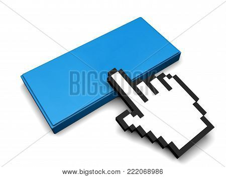 3D Illustration of Button And Hand Cursor
