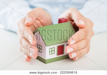Holding model little hands house color person