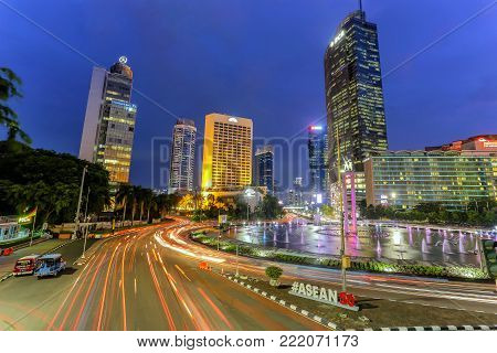 JAKARTA, INDONESIA - November 21, 2017. Heavy traffic during the rush hour on the Gatot Subroto highway in Jakarta business district in Indonesia capital city. The city is well known for its congestion problem
