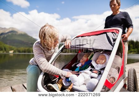Senior couple and grandchildren in jogging stroller, summer day.