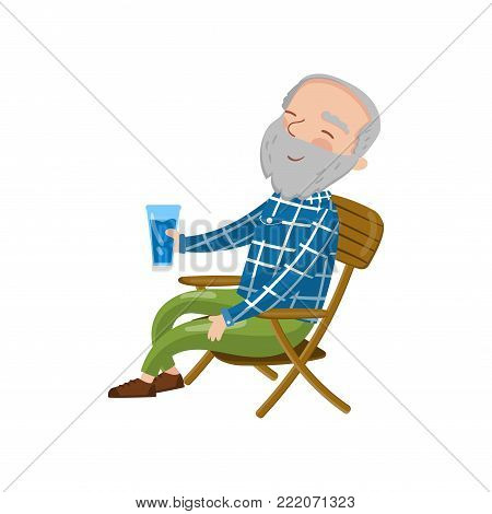 Happy smiling grandpa sitting on the chair and drinking, cartoon vector Illustration on a white background