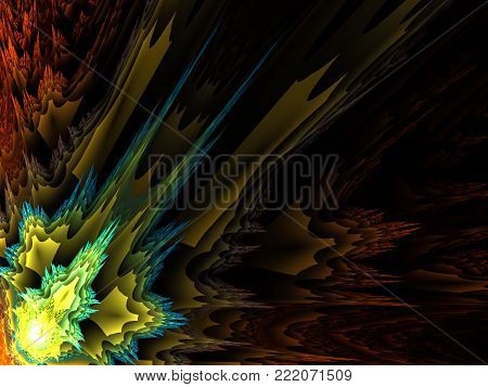 Prickle Abstract Green and Yellow Background  - Fractal Art