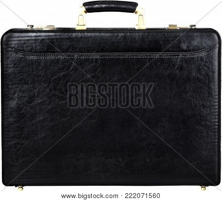 Isolated black leather case briefcase white background