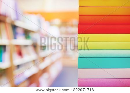 Colorful books background nobody paper closeup texture