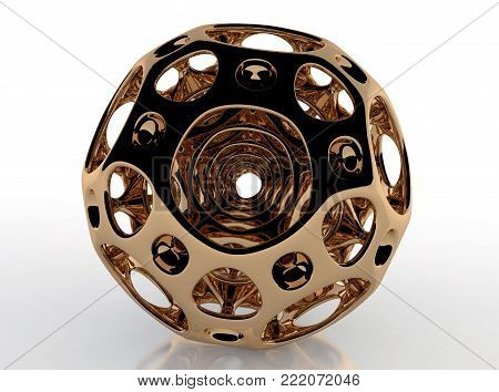 Gold Round  Cellular Ball - 3D Rendering Fractal Image