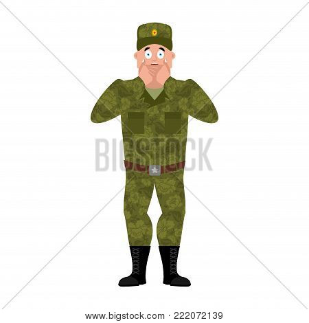 Russian soldier scared OMG. Warrior Oh my God emotion. Frightened Military in Russia. Illustration for 23 February. Defender of Fatherland Day. Army holiday for Russian Federation