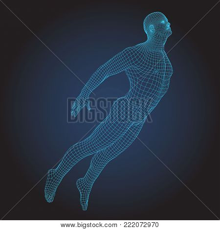 Wire frame human flying full body in virtual reality. Medical blue print scanned 3D model. Polygonal technology design