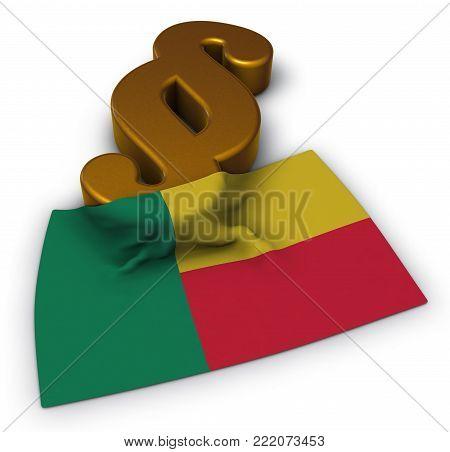flag of benin and paragraph symbol - 3d illustration