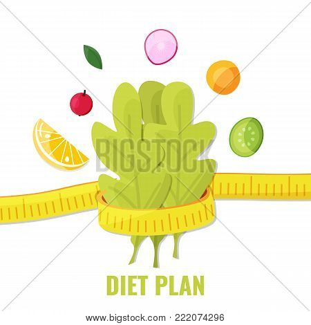Lettuce with measuring tape and vegetables, orange, berry. Diet plan concept. Vector illustration.