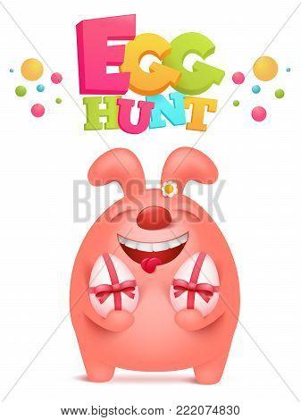 Egg hunt invitation card with pink bunny holding egg gifts. Vector illustration