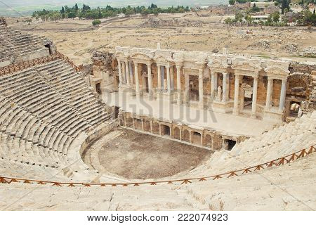 Pamukkale antic theatre in Turkey. Horzontal image